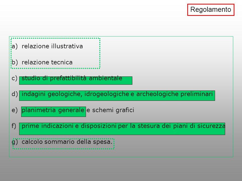 Regolamento relazione illustrativa relazione tecnica