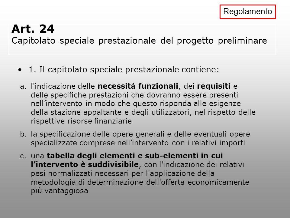 Art. 24 Capitolato speciale prestazionale del progetto preliminare