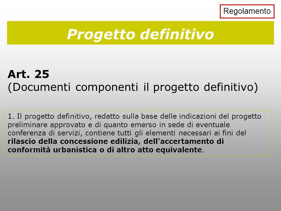 Regolamento Progetto definitivo. Art. 25 (Documenti componenti il progetto definitivo)