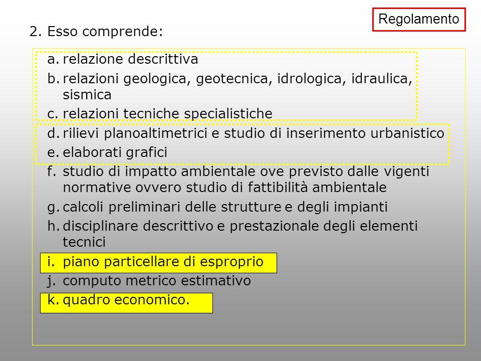 Regolamento 2. Esso comprende: relazione descrittiva. relazioni geologica, geotecnica, idrologica, idraulica, sismica.
