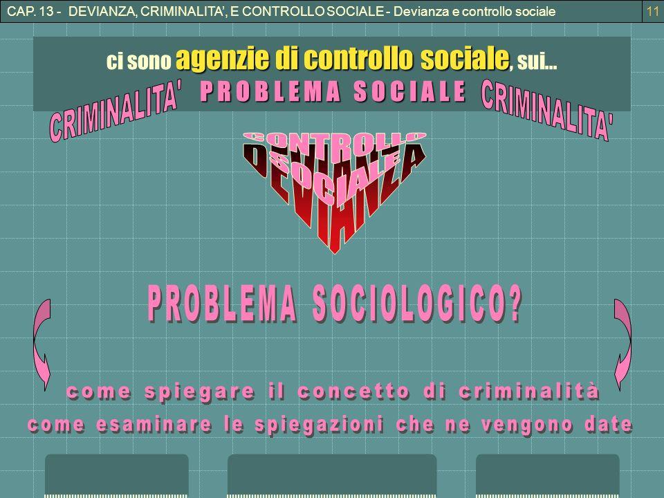CONTROLLO DEVIANZA SOCIALE P R O B L E M A S O C I A L E CRIMINALITA