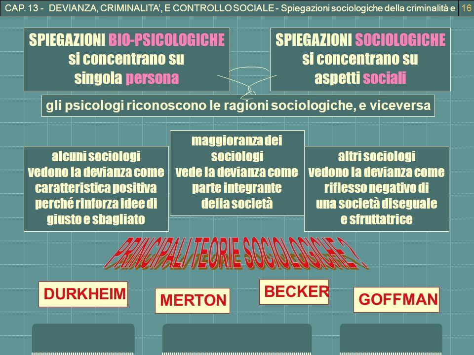 PRINCIPALI TEORIE SOCIOLOGICHE
