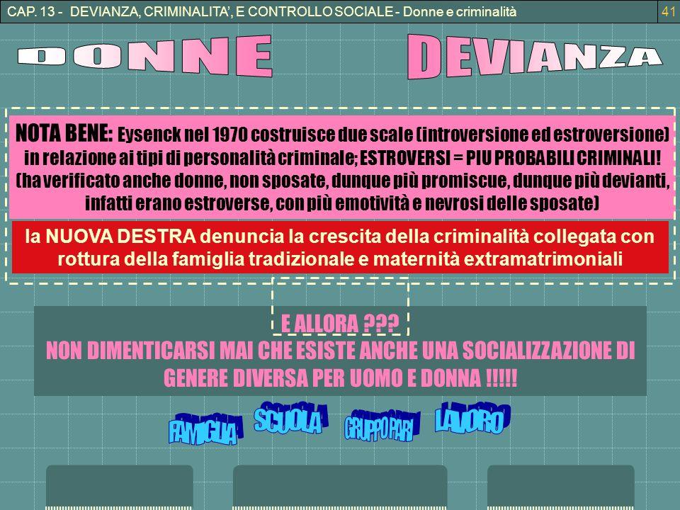 CAP. 13 - DEVIANZA, CRIMINALITA', E CONTROLLO SOCIALE - Donne e criminalità