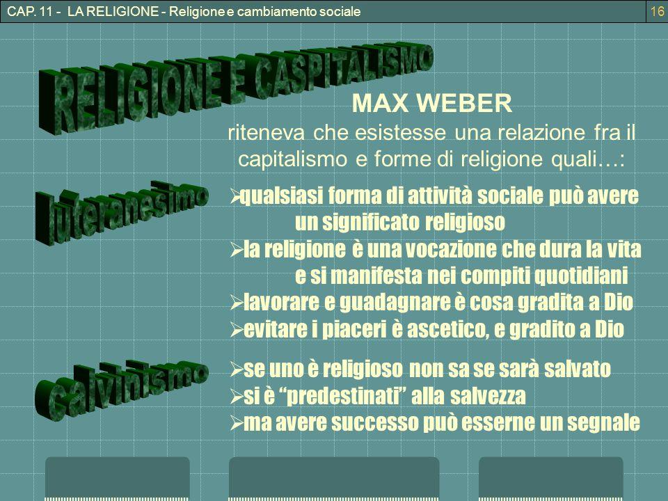 RELIGIONE E CASPITALISMO