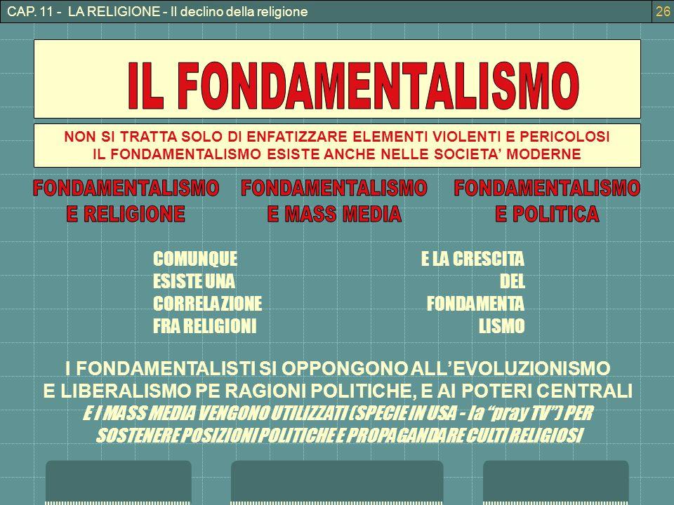 IL FONDAMENTALISMO FONDAMENTALISMO E RELIGIONE FONDAMENTALISMO