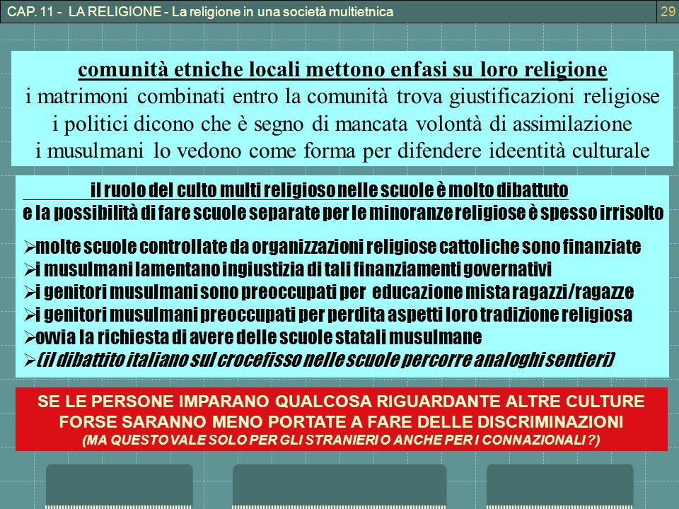 comunità etniche locali mettono enfasi su loro religione