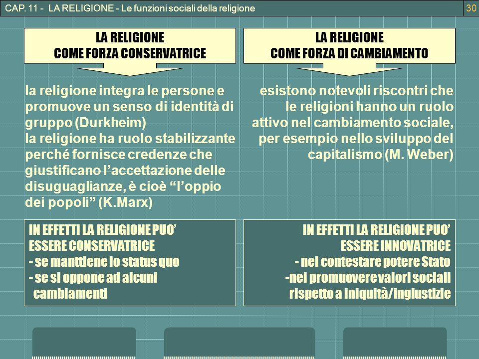 COME FORZA CONSERVATRICE LA RELIGIONE COME FORZA DI CAMBIAMENTO