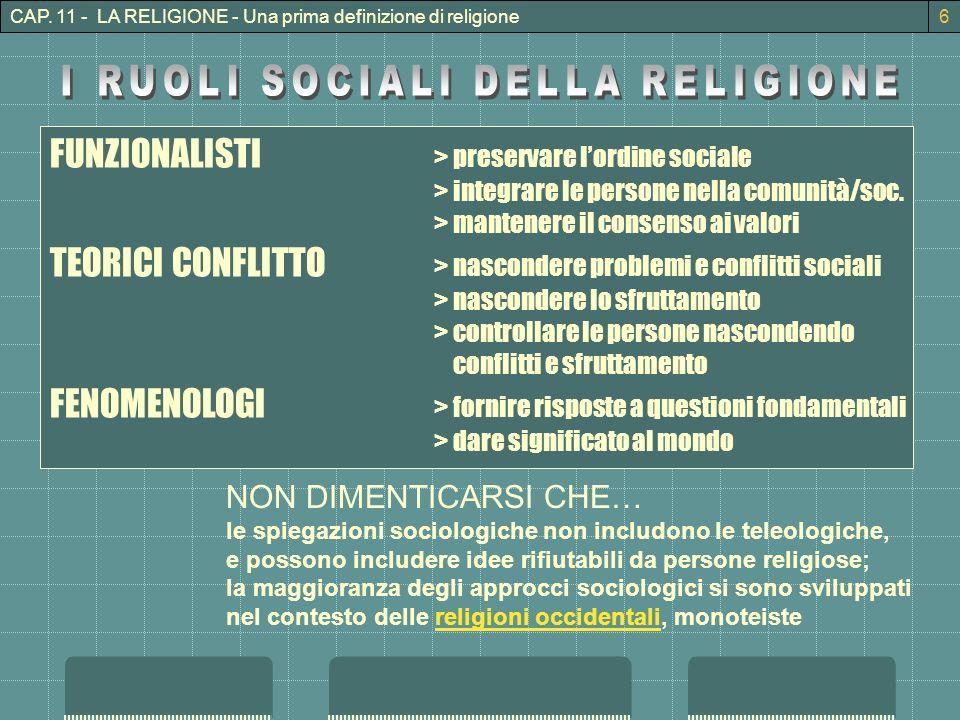 I RUOLI SOCIALI DELLA RELIGIONE