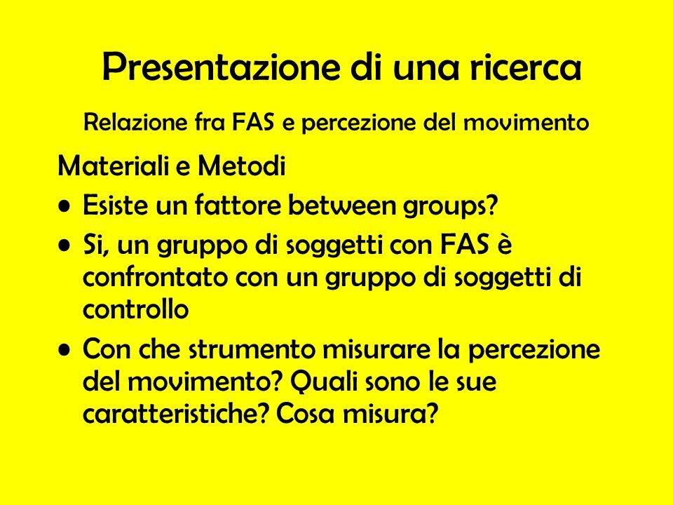 Relazione fra FAS e percezione del movimento