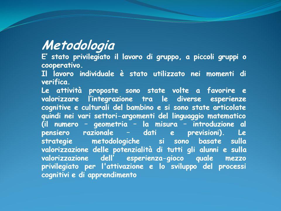 Metodologia E' stato privilegiato il lavoro di gruppo, a piccoli gruppi o cooperativo.