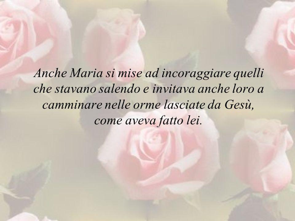 Anche Maria si mise ad incoraggiare quelli che stavano salendo e invitava anche loro a camminare nelle orme lasciate da Gesù, come aveva fatto lei.