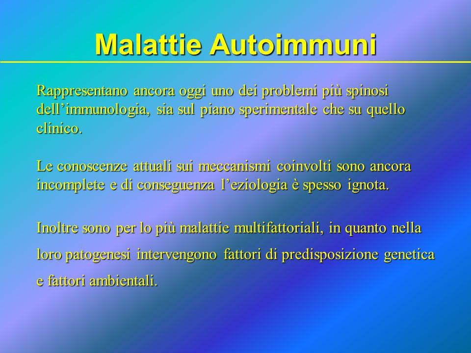 Malattie Autoimmuni Rappresentano ancora oggi uno dei problemi più spinosi. dell'immunologia, sia sul piano sperimentale che su quello.