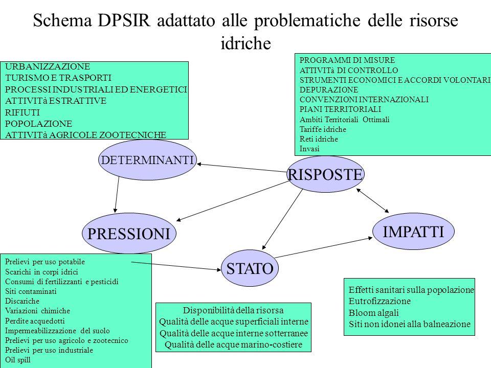 Schema DPSIR adattato alle problematiche delle risorse idriche