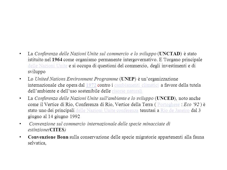 La Conferenza delle Nazioni Unite sul commercio e lo sviluppo (UNCTAD) è stato istituito nel 1964 come organismo permanente intergovernativo. E l organo principale delle Nazioni Unite e si occupa di questioni del commercio, degli investimenti e di sviluppo