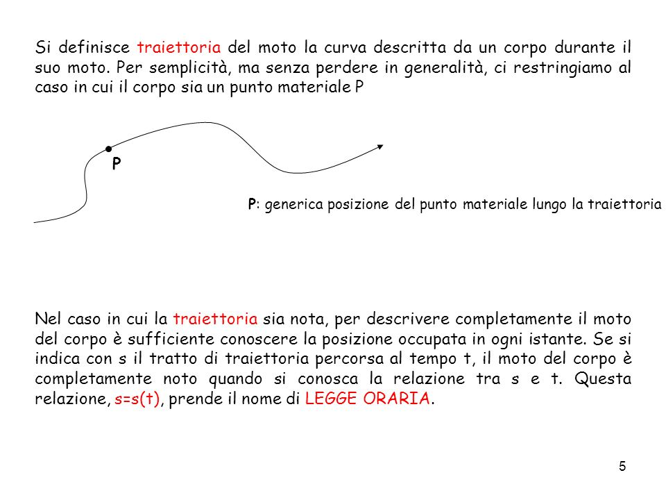 P: generica posizione del punto materiale lungo la traiettoria