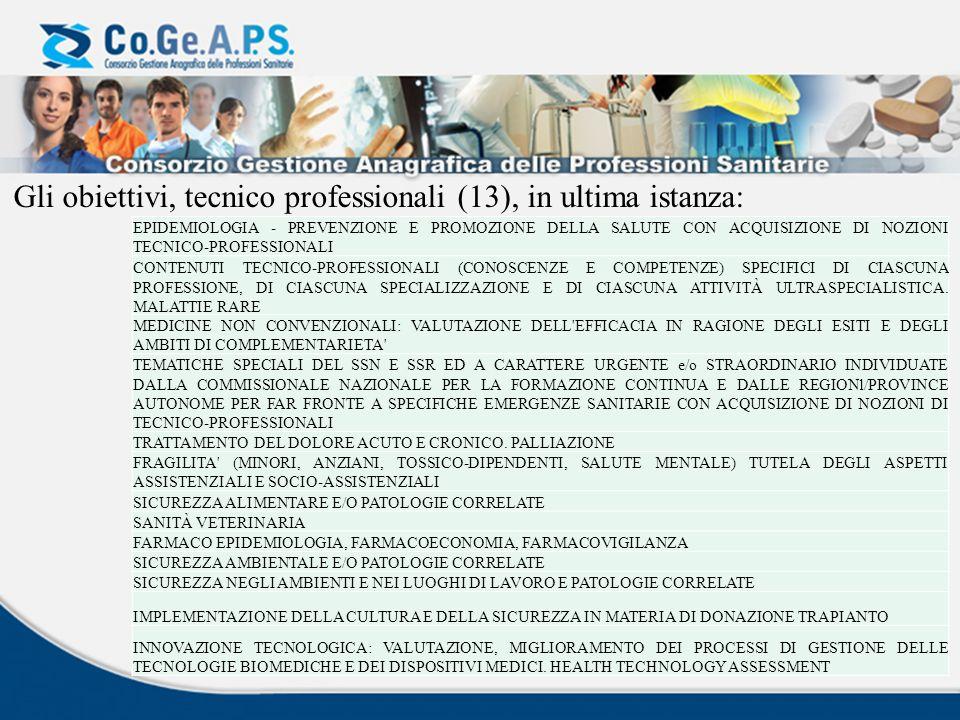 Gli obiettivi, tecnico professionali (13), in ultima istanza: