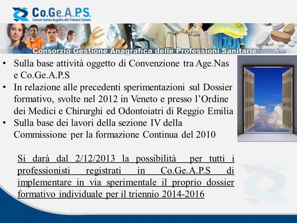 Sulla base attività oggetto di Convenzione tra Age.Nas e Co.Ge.A.P.S