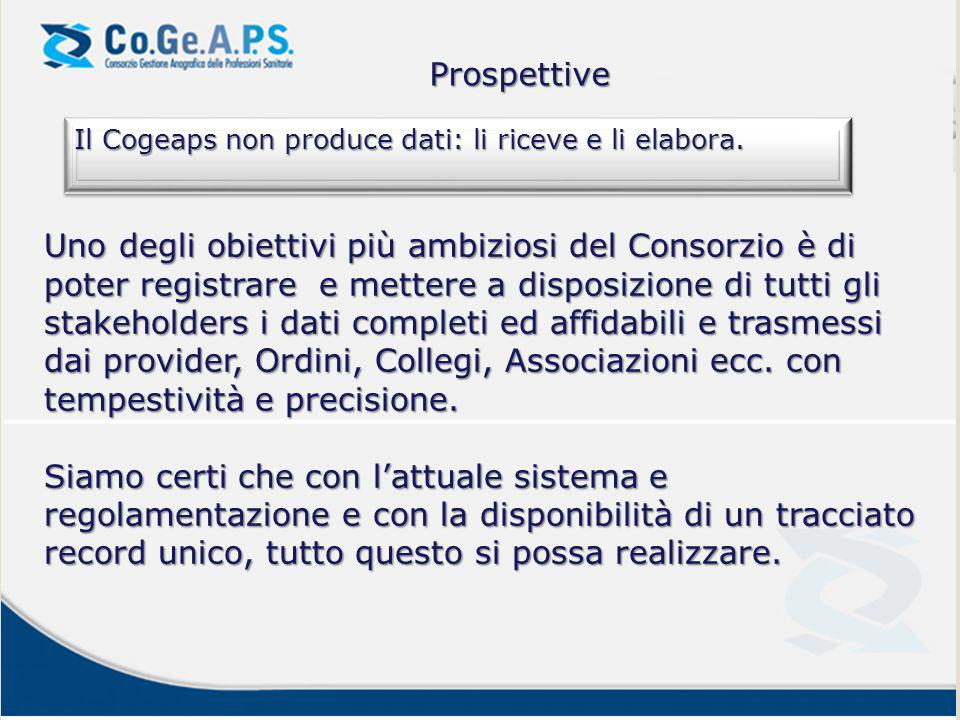 Prospettive Il Cogeaps non produce dati: li riceve e li elabora.