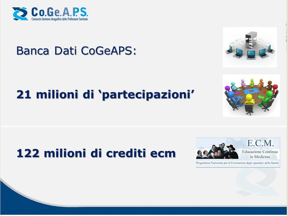 Banca Dati CoGeAPS: 21 milioni di 'partecipazioni' 122 milioni di crediti ecm