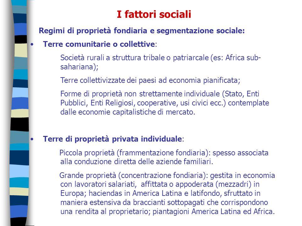 I fattori sociali Regimi di proprietà fondiaria e segmentazione sociale: Terre comunitarie o collettive: