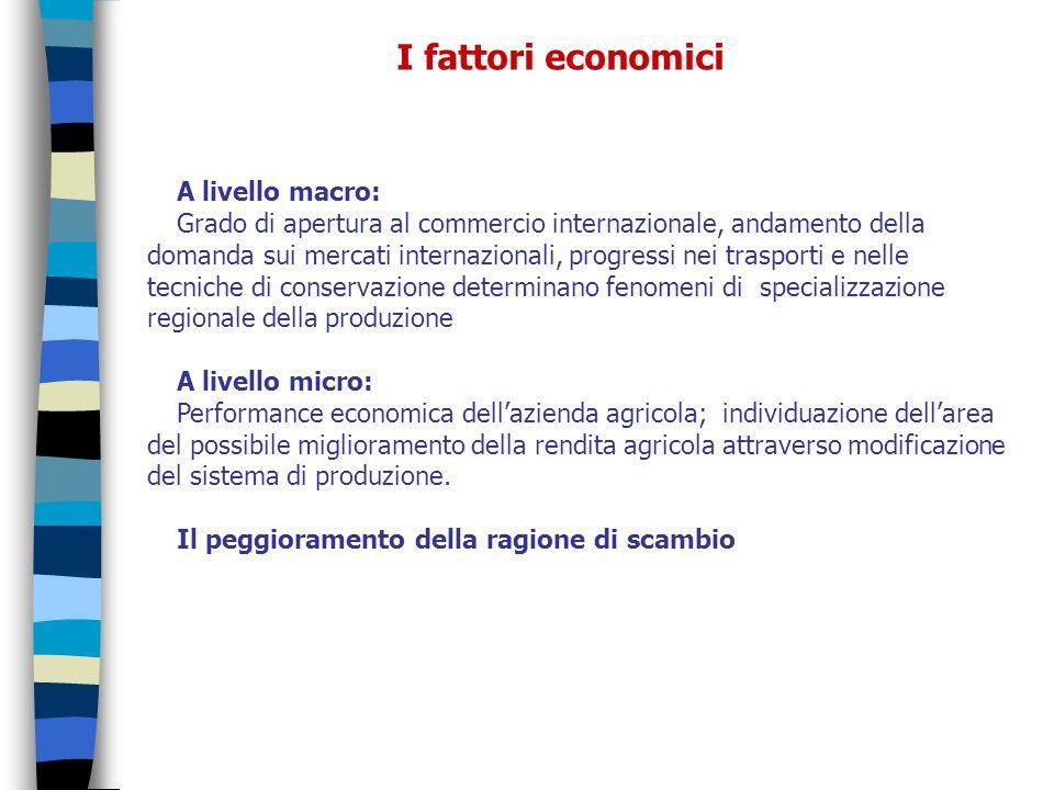 I fattori economici A livello macro: