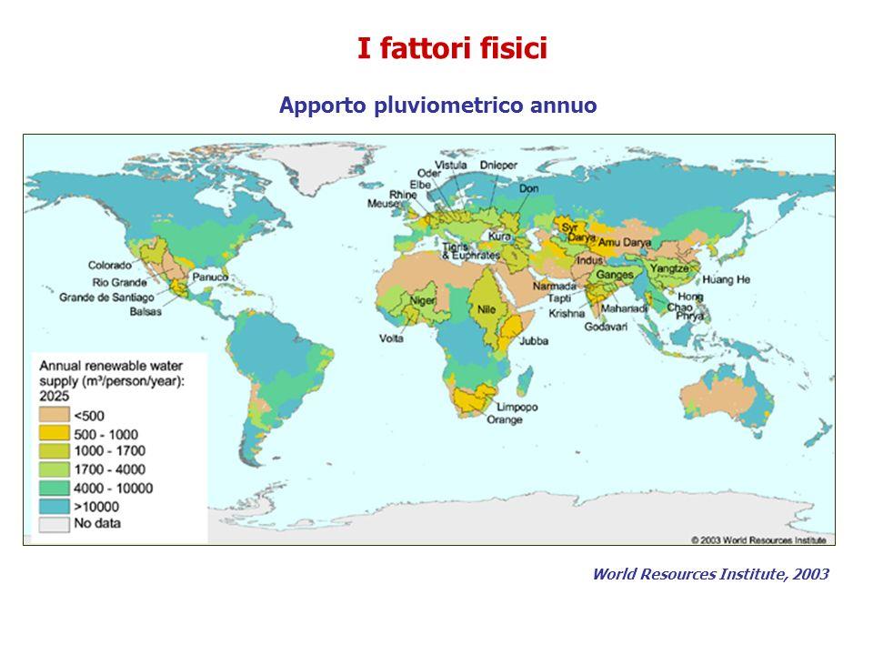 Apporto pluviometrico annuo World Resources Institute, 2003