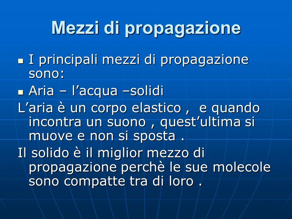 Mezzi di propagazione I principali mezzi di propagazione sono: