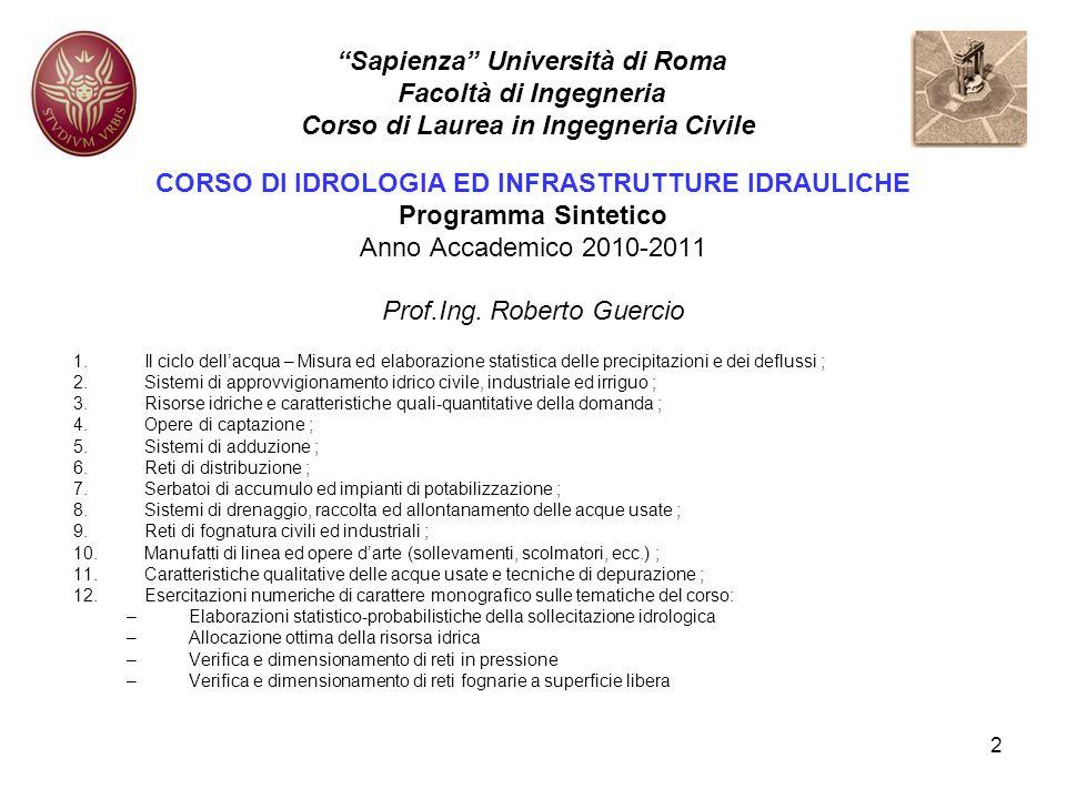 Sapienza Università di Roma Facoltà di Ingegneria