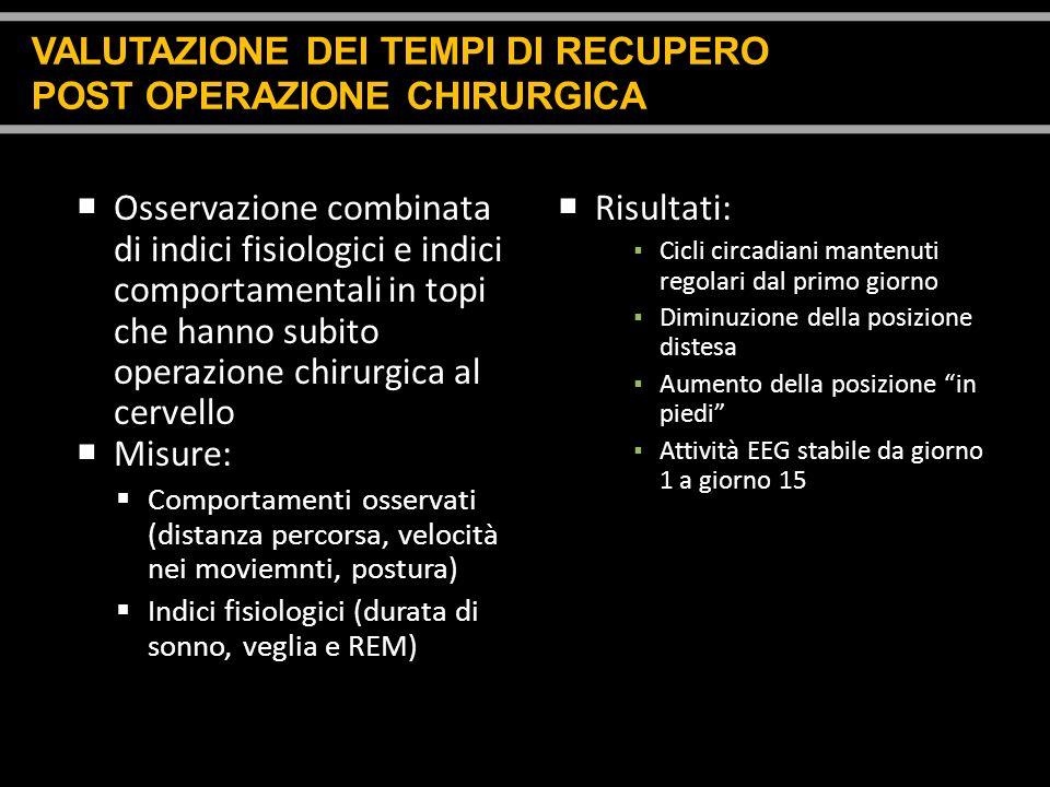 VALUTAZIONE DEI TEMPI DI RECUPERO POST OPERAZIONE CHIRURGICA