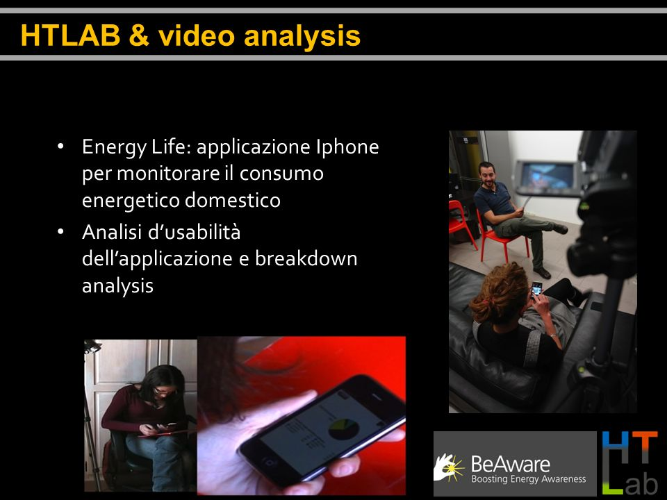 HTLAB & video analysis Energy Life: applicazione Iphone per monitorare il consumo energetico domestico.