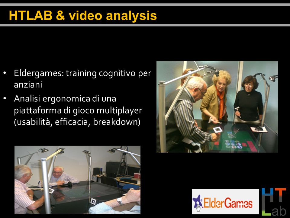 HTLAB & video analysis Eldergames: training cognitivo per anziani