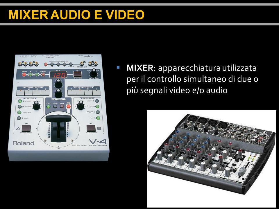 MIXER AUDIO E VIDEO MIXER: apparecchiatura utilizzata per il controllo simultaneo di due o più segnali video e/o audio.