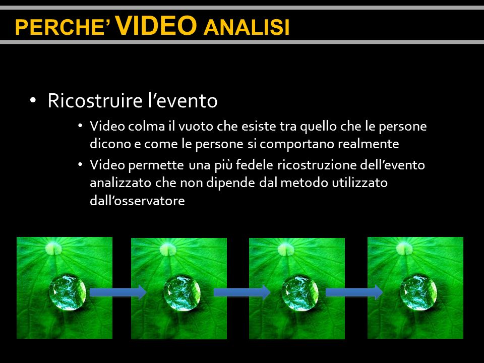 PERCHE' VIDEO ANALISI Ricostruire l'evento