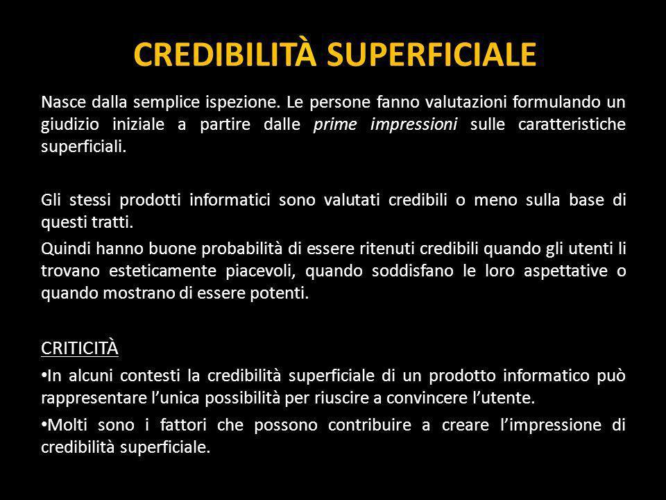 CREDIBILITÀ SUPERFICIALE