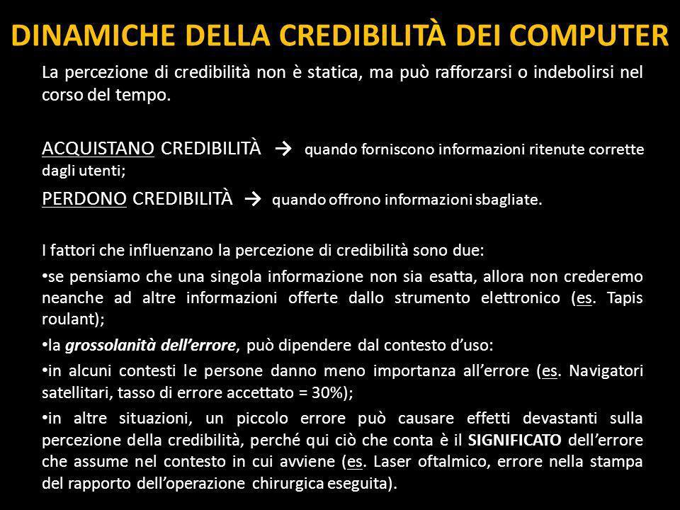 DINAMICHE DELLA CREDIBILITÀ DEI COMPUTER