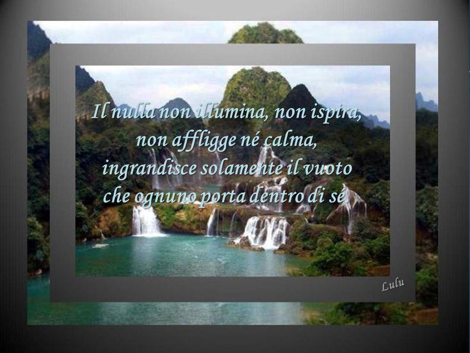 Il nulla non illumina, non ispira, non affligge né calma,