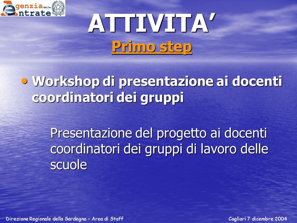 ATTIVITA' Primo step Workshop di presentazione ai docenti coordinatori dei gruppi.