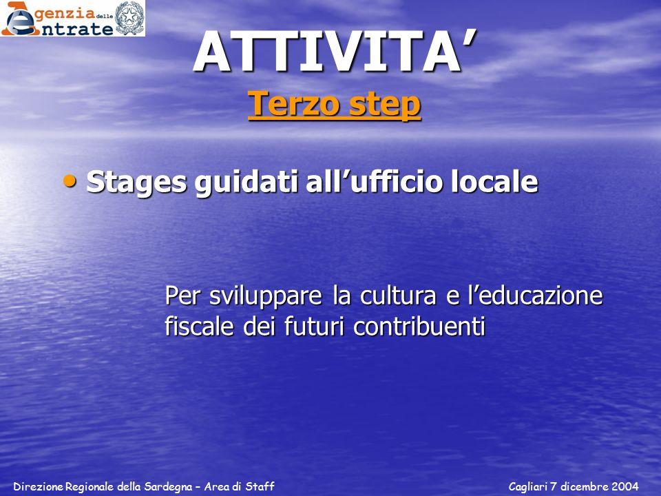 ATTIVITA' Terzo step Stages guidati all'ufficio locale