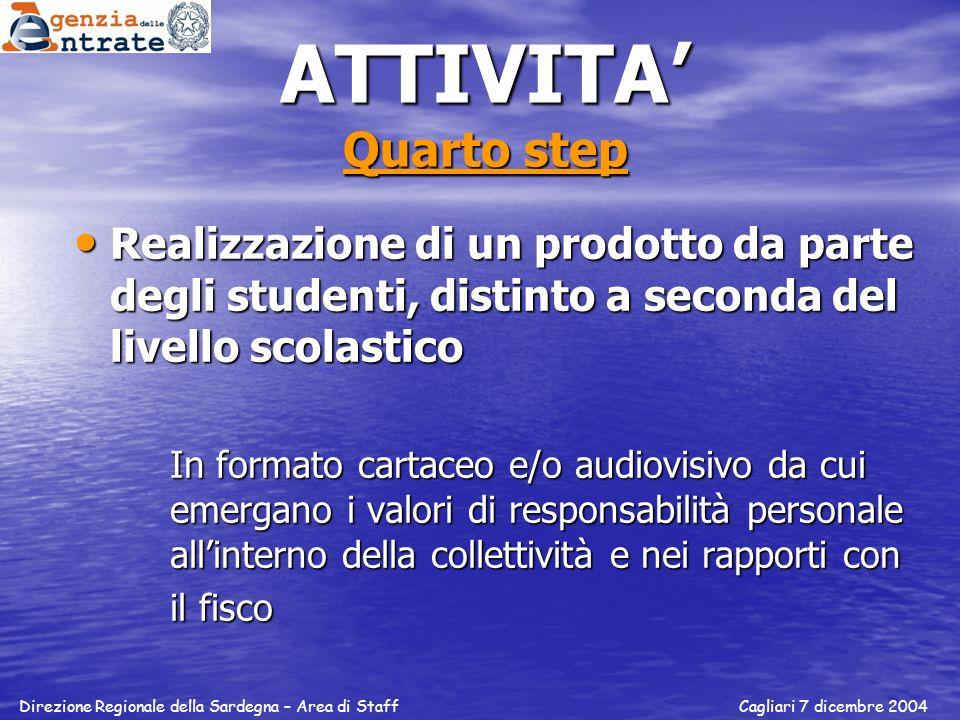 ATTIVITA' Quarto step Realizzazione di un prodotto da parte degli studenti, distinto a seconda del livello scolastico.