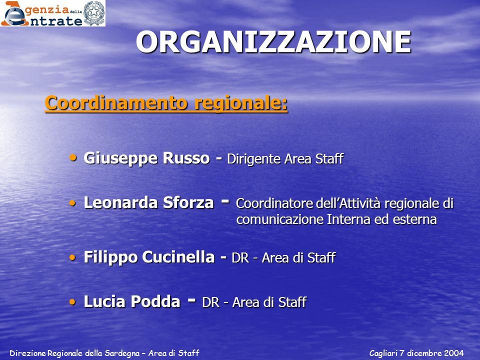 ORGANIZZAZIONE Coordinamento regionale: