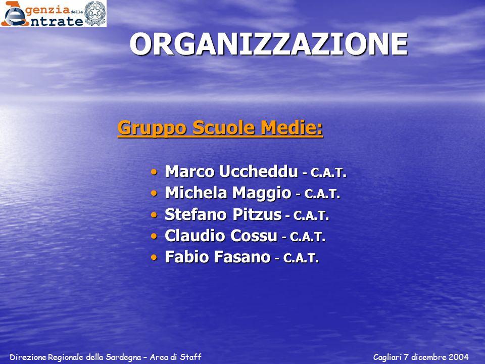 ORGANIZZAZIONE Gruppo Scuole Medie: Marco Uccheddu - C.A.T.
