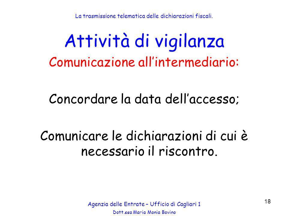 Attività di vigilanza Comunicazione all'intermediario: