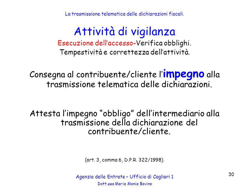 La trasmissione telematica delle dichiarazioni fiscali.