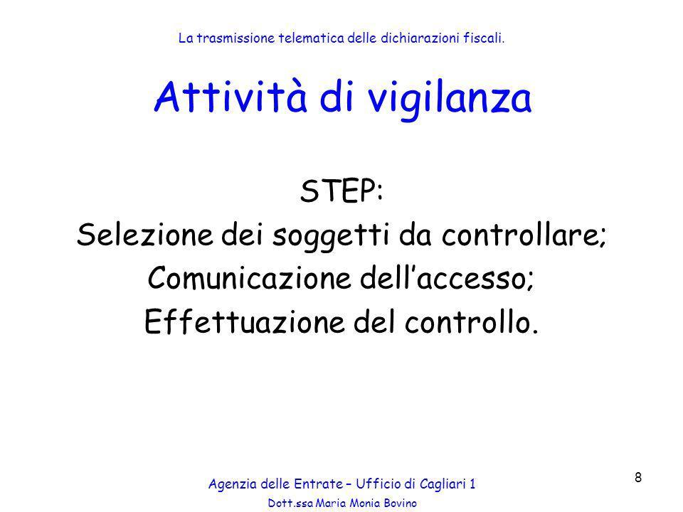 Attività di vigilanza STEP: Selezione dei soggetti da controllare;