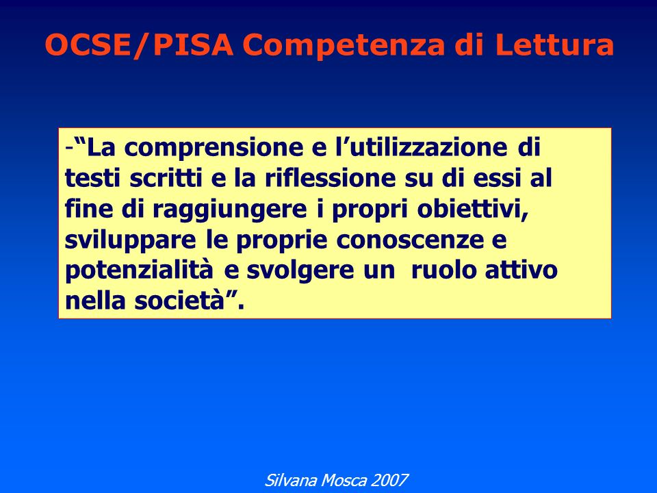 OCSE/PISA Competenza di Lettura