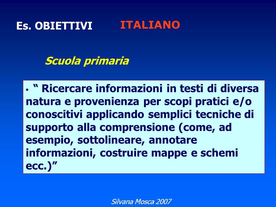 ITALIANO Es. OBIETTIVI Scuola primaria