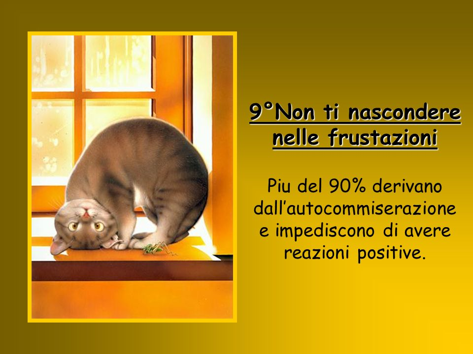 9°Non ti nascondere nelle frustazioni Piu del 90% derivano dall'autocommiserazione e impediscono di avere reazioni positive.