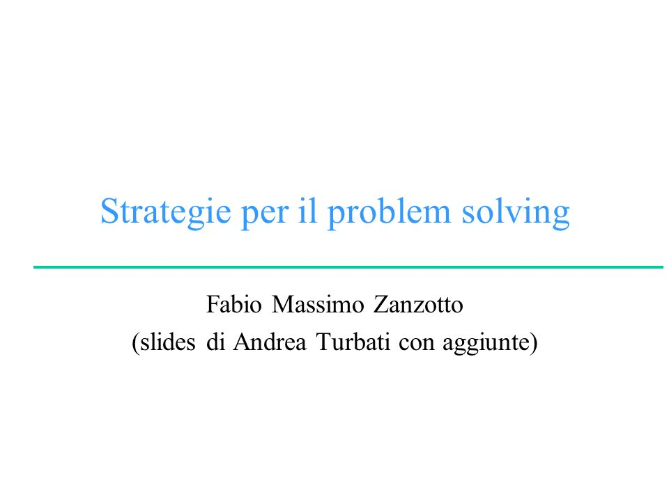 Strategie per il problem solving