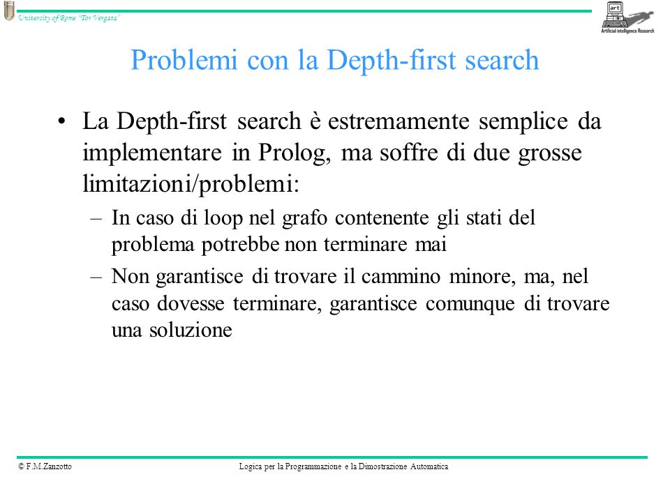 Problemi con la Depth-first search