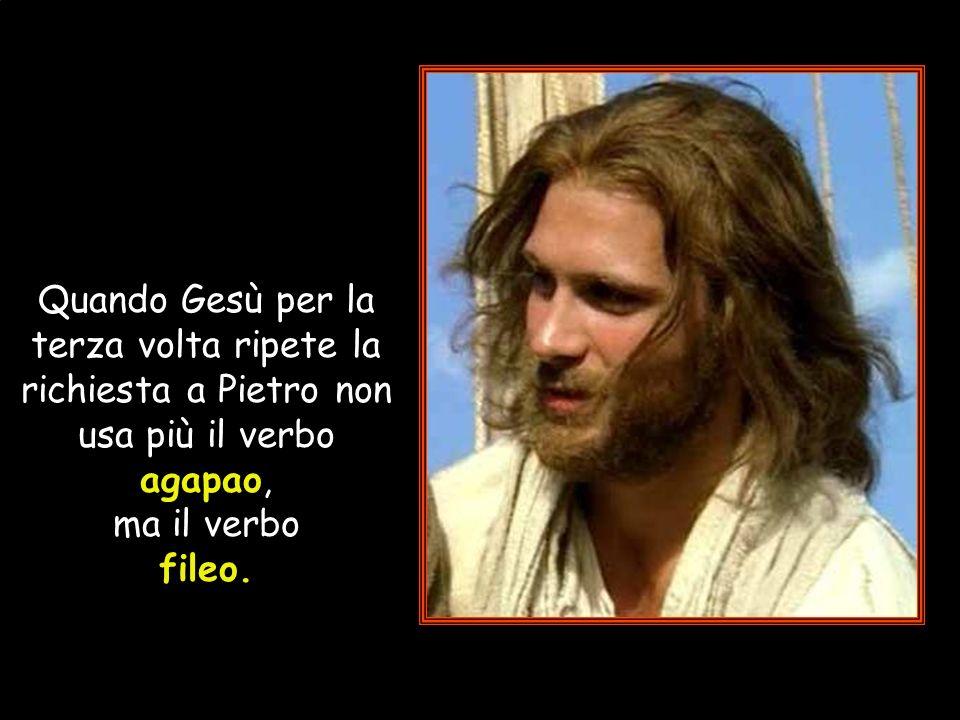 Quando Gesù per la terza volta ripete la richiesta a Pietro non usa più il verbo agapao, ma il verbo fileo.